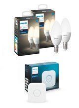 Philips Hue White LED pære - E14 Kerte 4-pak + Bridge