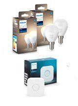Philips Hue White LED pære - E14 Krone 4-pak + Bridge