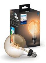 Philips Hue LED pære - E27 - Filament Globe 12,5cm - 4-pak